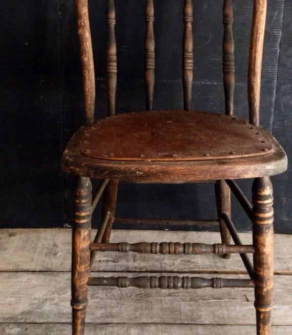 Primitive Antique Spindle Back Chair Urban Farmhouse Kitchen