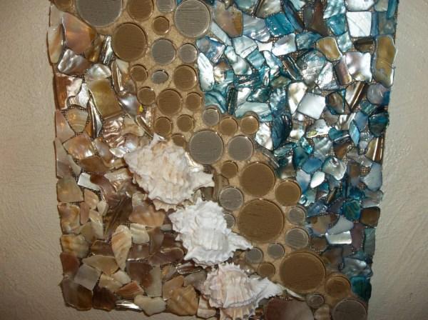 Mosaic Seashell Wall Art Beach Scene Hanging