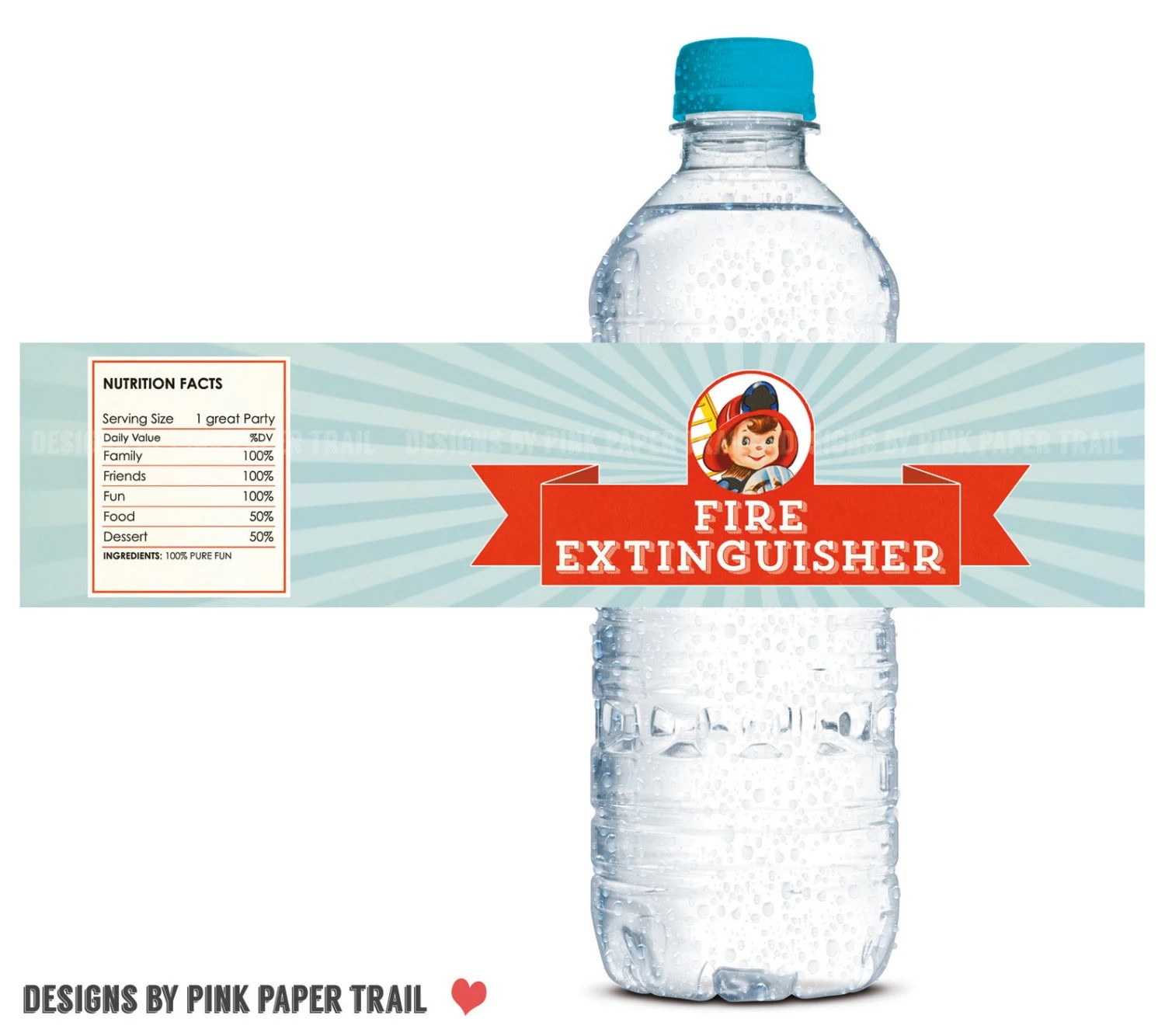 Firetruck Fireman Fire Engine Water Bottle Label Print Your Own Digital File Instant