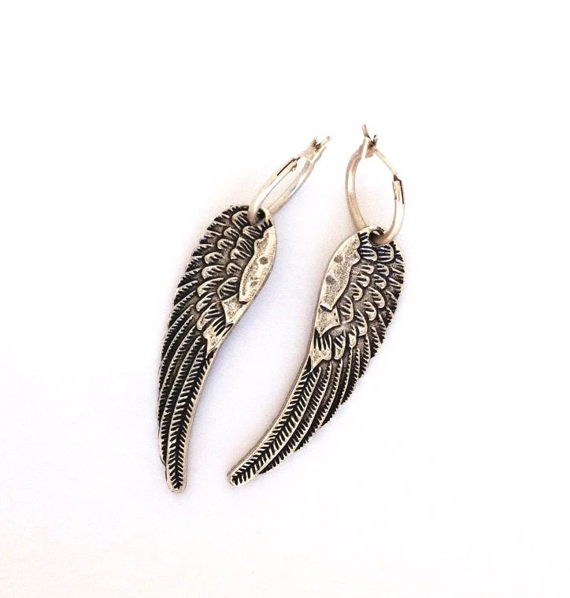 Angel wings earrings punk rock jewelry Antiqued Silver dangle