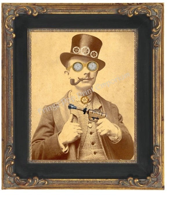 Victorian Steampunk Man Art Print 8 X 10 Goggles Top Hat
