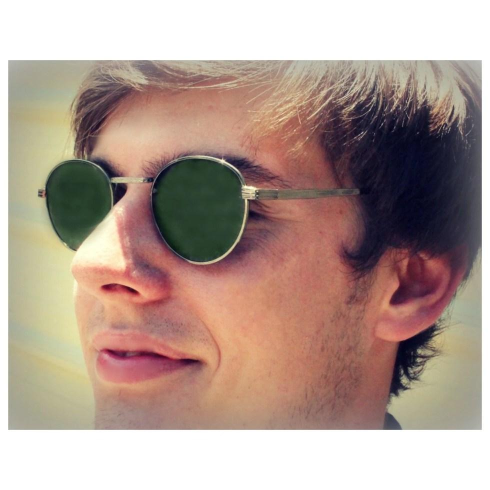 c4ff3bdab4 Round P3 Sunglasses   Mens Gatsby Glasses   John Lennon Glasses   Green  Lenses   Silver Gunmetal Frames   O Malley Sunglasses