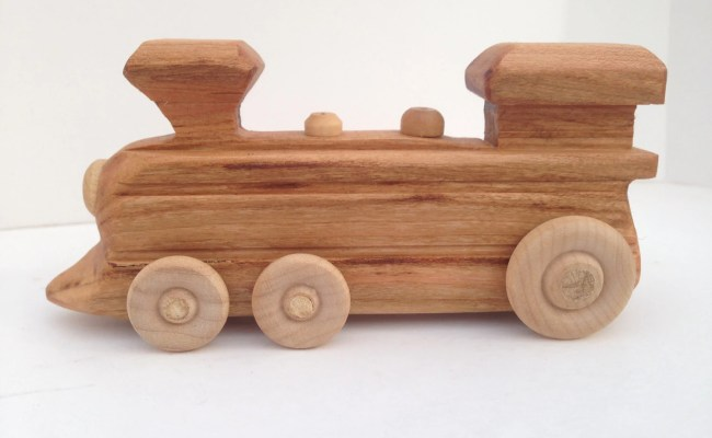 Wooden Toy Train Locomotive Engine Is Handcrafted For Toddlers
