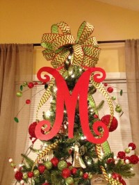 Monogram Christmas Tree Topper Front Door Letter by ...