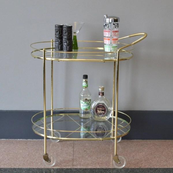Glass Rolling Bar Cart