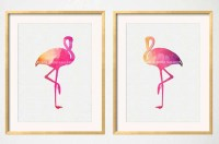 Flamingo Art Pink Flamingo Wall Art Tropical Birds Hot Pink