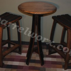 Whiskey Barrel Pub Table And Chairs Wagon Wheel Rocker Chair Stave 2 Bar Stools