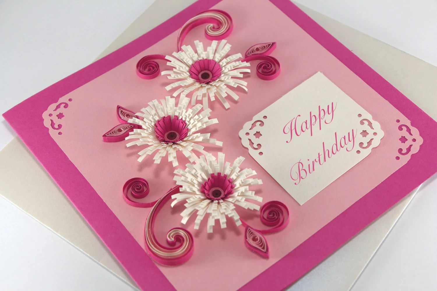 Happy Birthday Card Girlfriend Handmade Quilling Greeting