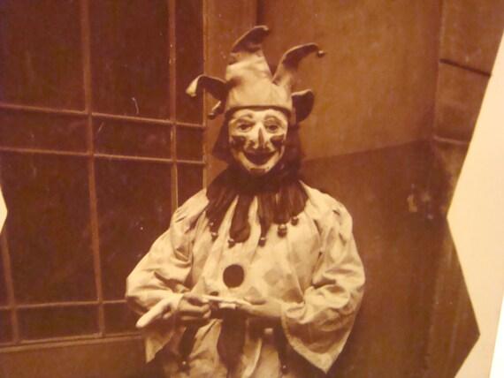 SALE 20% Scary Clown Jester Vintage RPPC Halloween Costume