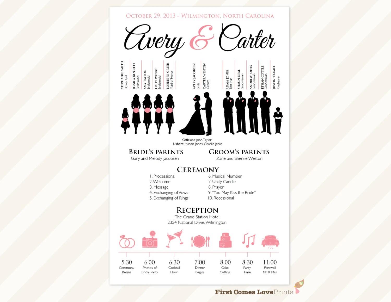 The Avery PRINTABLE One Sided Wedding Program Wedding