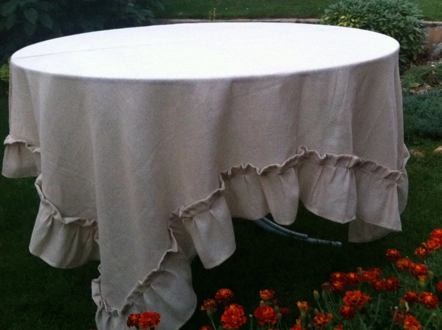 burlap dining chair covers cracker barrel chairs square table cover with ruffles by