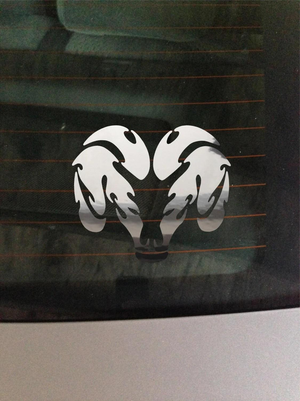 Dodge Ram Head Chrome Vinyl Decal CarTruck Window Wall Art