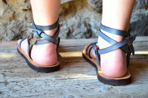 Blue Leather Women Sandals Barefoot
