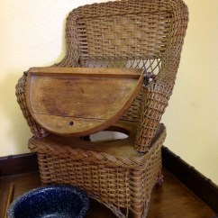 Vintage Wicker Rocking Chair Stool Parts Victorian Potty 1800's High By Peetslittlepicker