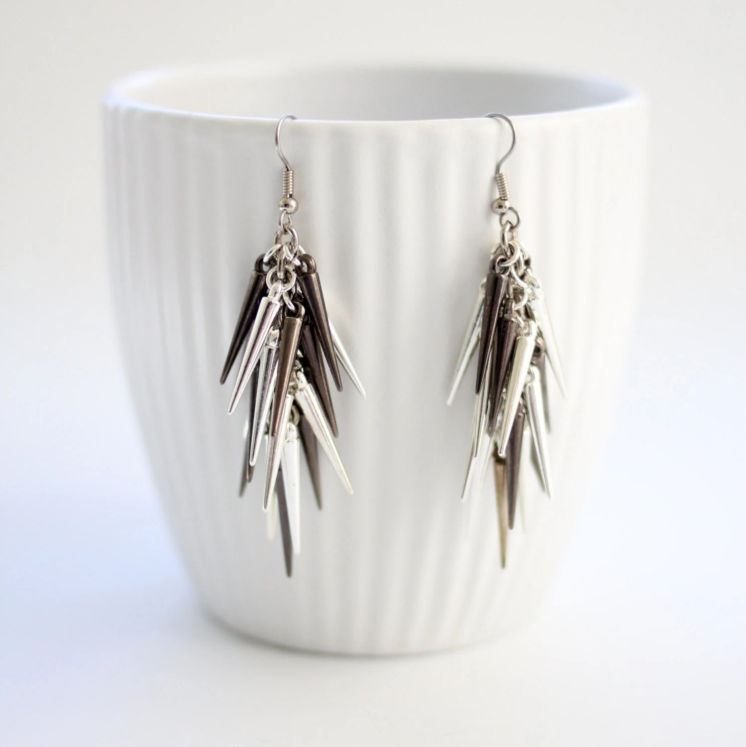 Small Gunmetal & Silver Spike Earrings by CalypteCollection