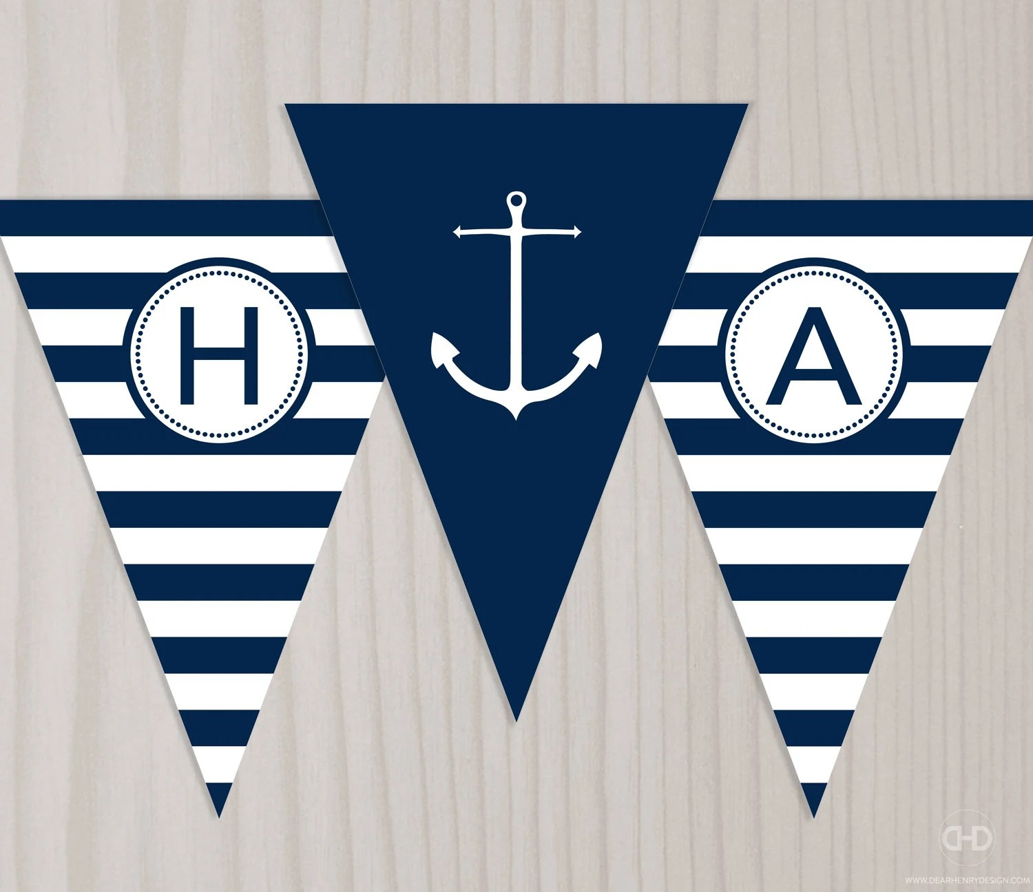 Preppy Nautical Birthday Banner Instant Download Printable