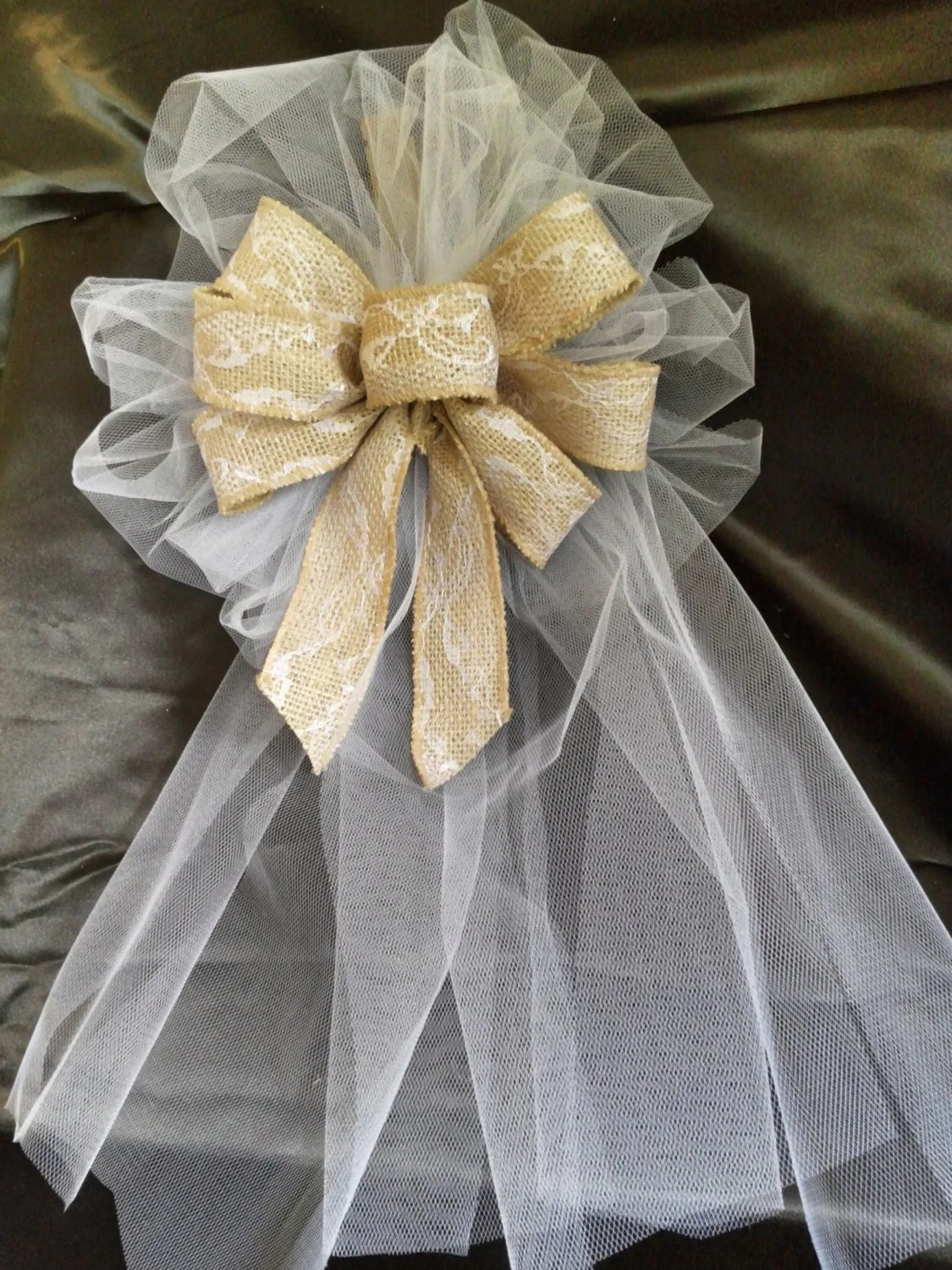 Set of 10 Wedding Pew Bows Brown Burlap Ribbon Bows With Lace