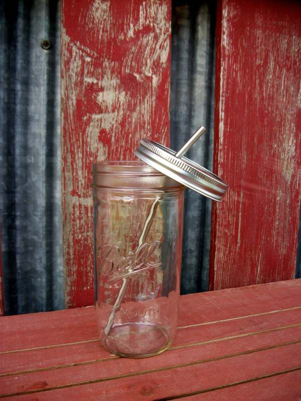 24 Oz Mason Drinking Jar & Stainless Steel Straw
