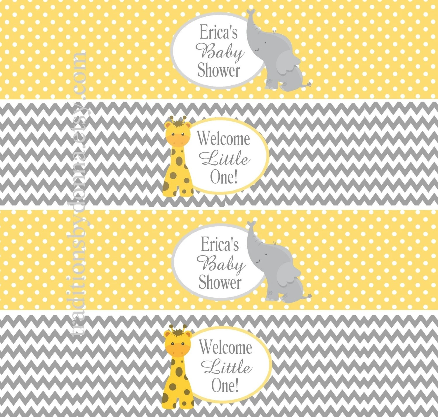 Baby Shower Water Bottle Labels Personalized Yellow Gray Chevron Printable Digital File Cute