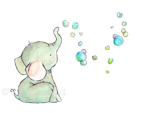 Childrens Art Elephant Bubbles Art Print