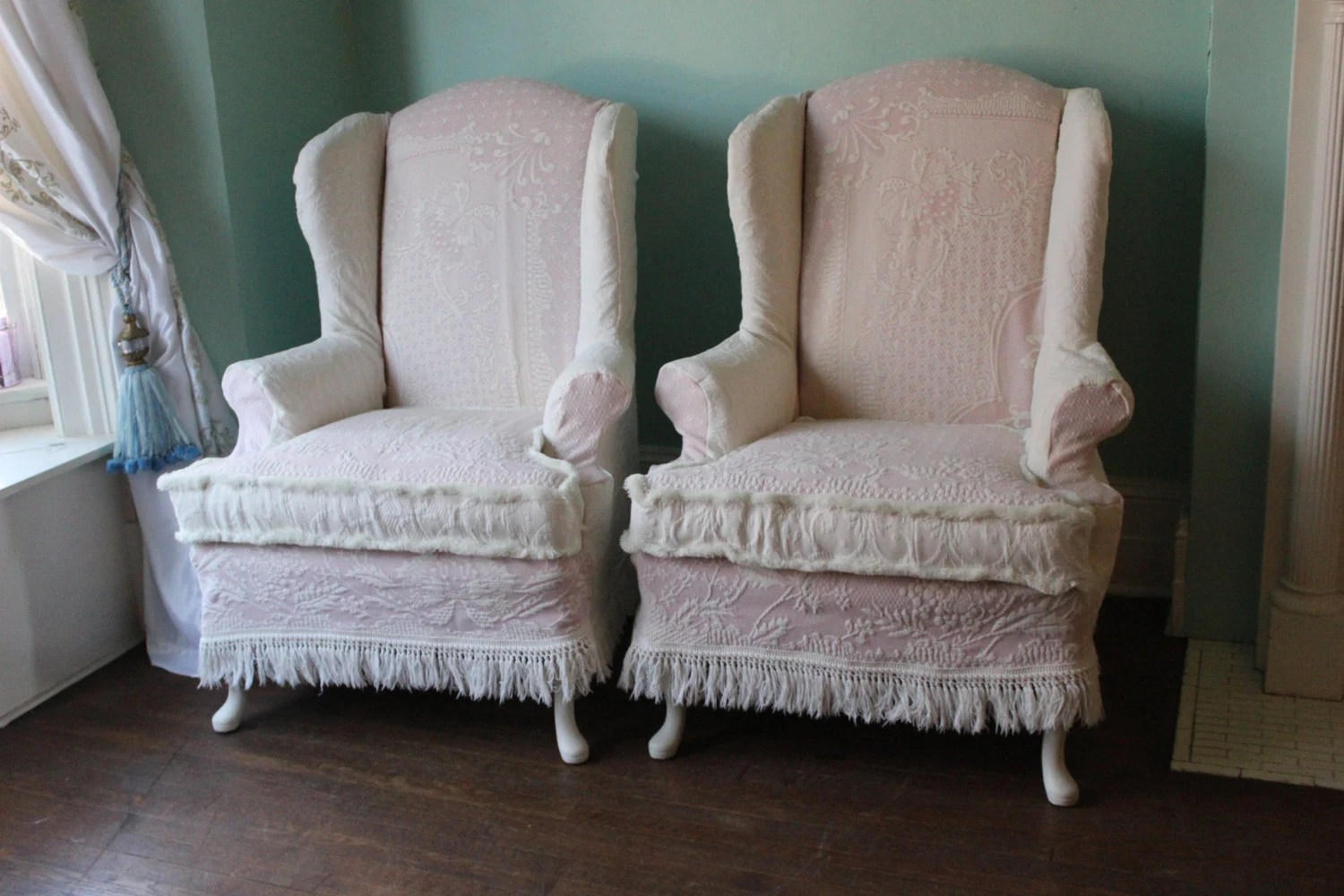 Items similar to shabby chic wingback chair pair pink