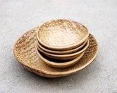 Ceramic Bowls set of five in golden brown handmade pottery - claylicious