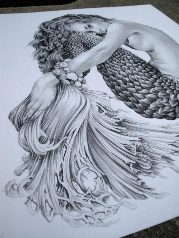 Mermaid Illustration Black And White 8 X10