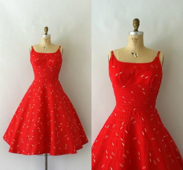1950s Vintage Dress 50s Red Cotton Sundress
