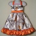 Camo halter dress orange white satin by karriesboutique