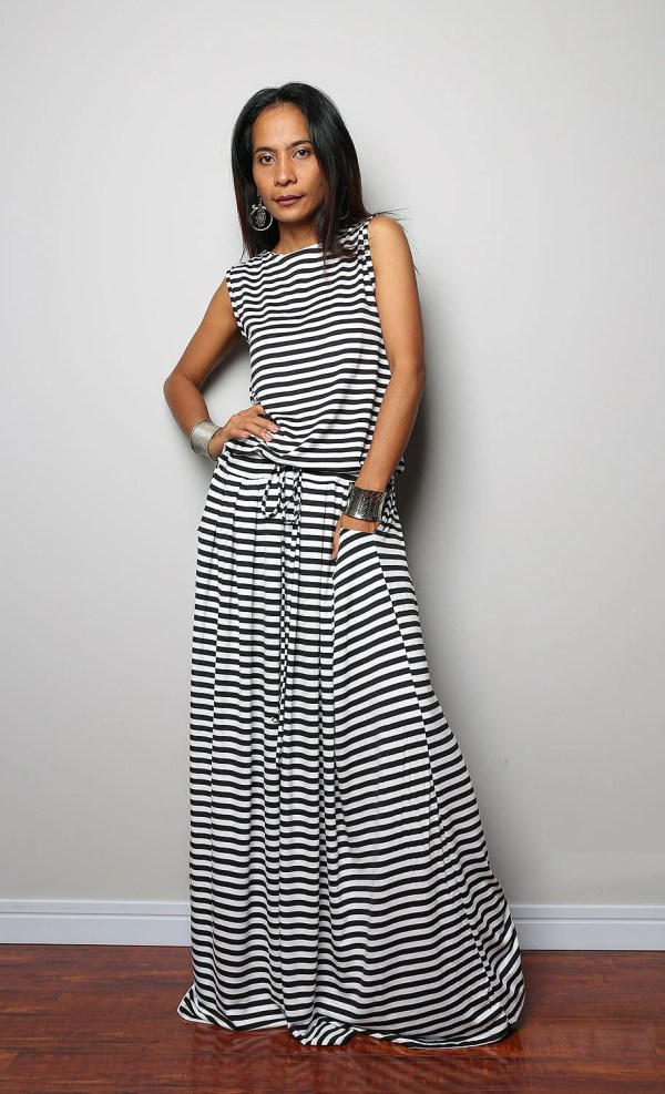 Black White Striped Maxi Dress Sleeveless Autumn