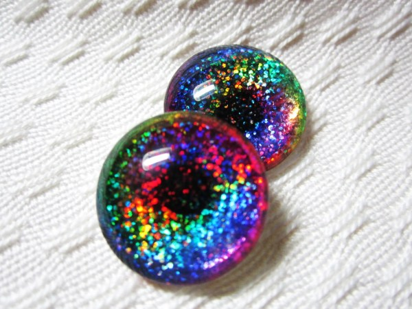 Rainbow Glass glitter eyes 20mm cabochons for jewelry by
