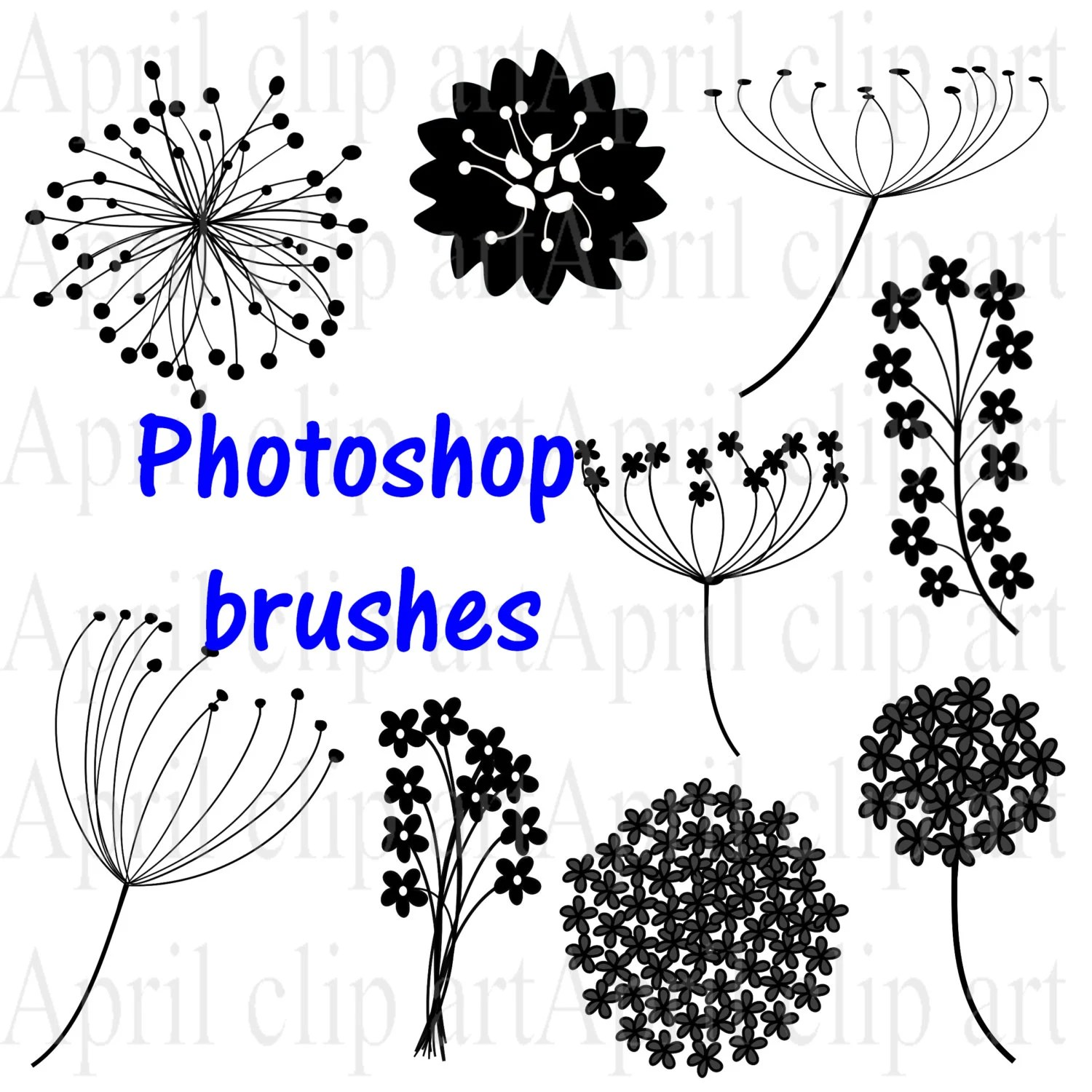 Photoshop Brushes Flowers set 2, Digital Clip Art in PNG