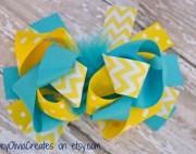 girls chevron yellow blue and white