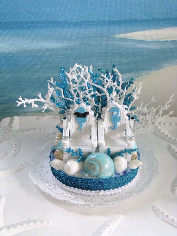 adirondack chair cake topper muji floor chairs beach wedding seashell