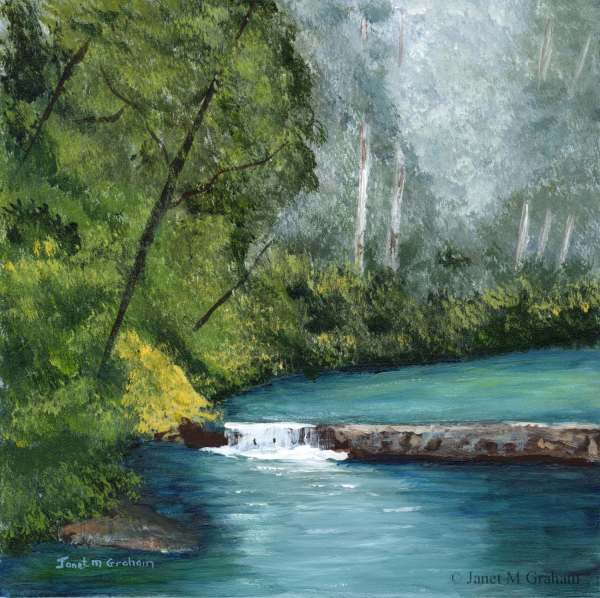 River Forest Waterfall Trees Water Sfa Original Hand