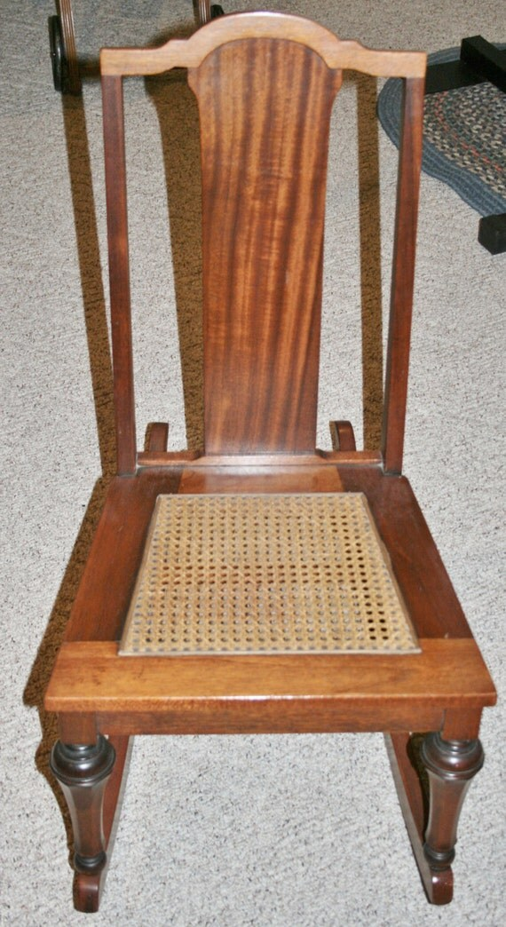 Vintage Armless Sewing Nursing Rocker Wood with cane seat