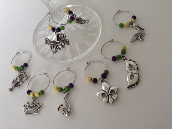 New Orleans Themed Wine Glass Charms... Party Favors
