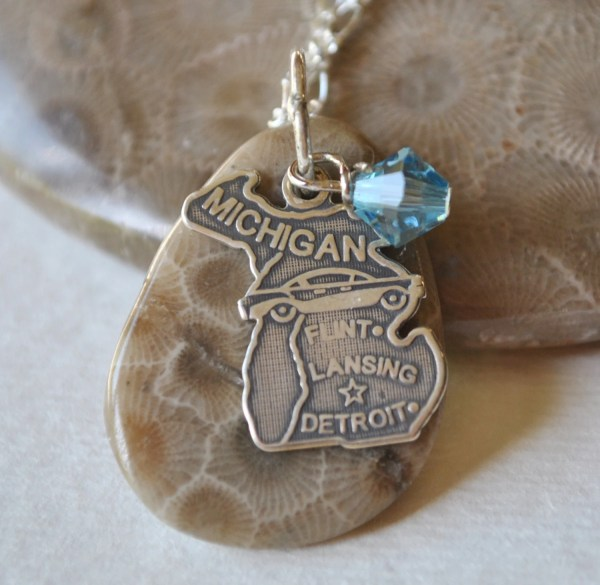 Petoskey Stone Necklace With Sterling Michigan Charm And Aqua