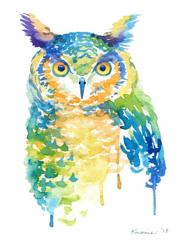 Cool Color Owl Watercolor Print Abstract Birds Trendy