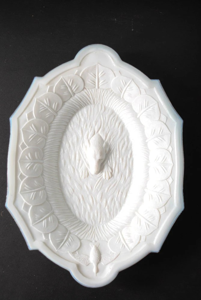 Antique Victorian Milk Glass Platter  Haute Juice