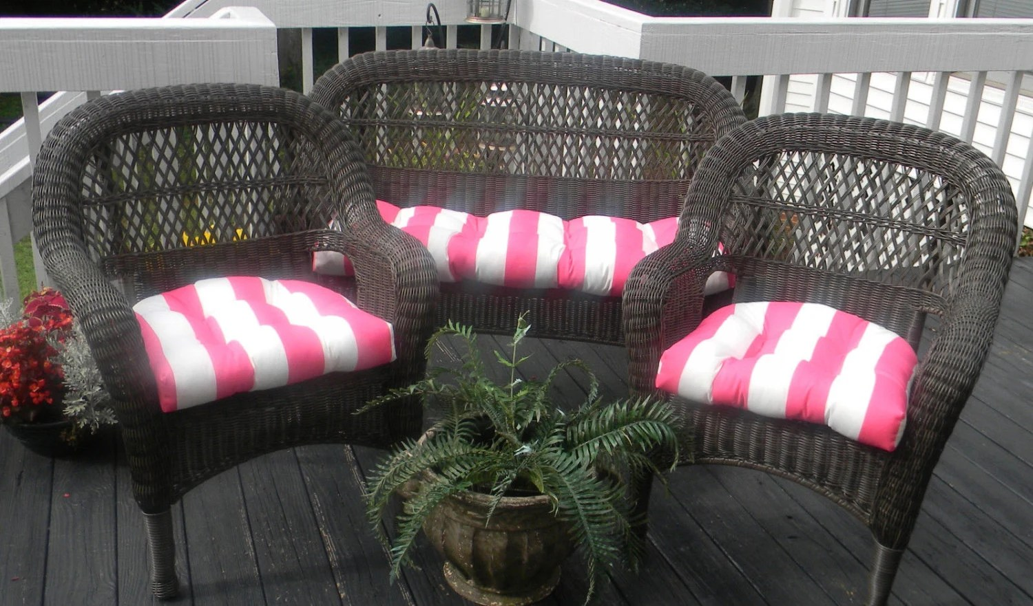 pink salon chairs toddler high chair booster wicker cushion 3 pc set preppy and white stripe indoor