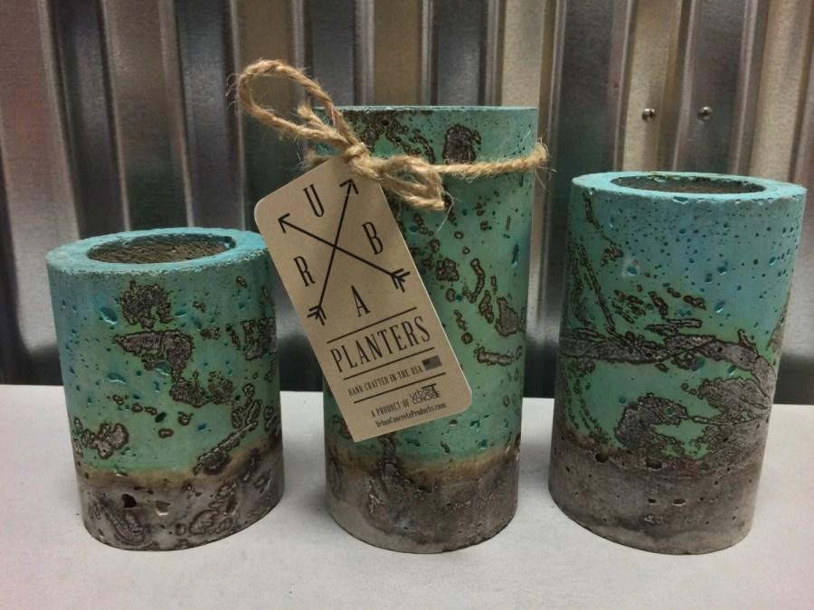 "Concrete Succulent Planters. Urba planters (set of 3).  Enter Promo code ""LOVE1"" to recieve 10% off entire order."