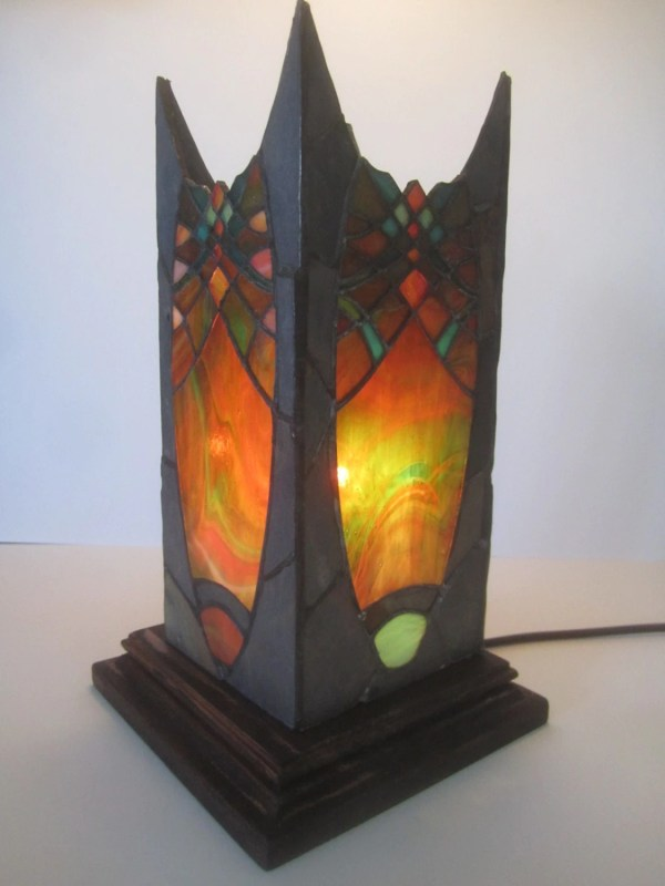 Unique Stained Glass And Slate Stone Lantern