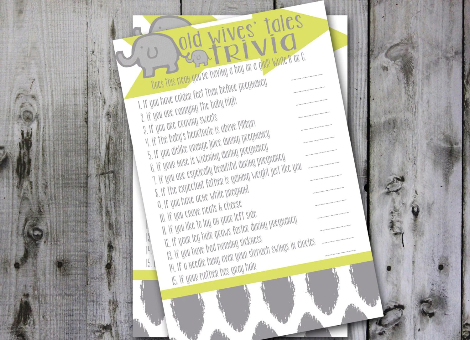 Instant Download Old Wives Tales Quiz Shower Game By Graypaperie