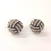 Rhinestone volleyball stud earrings / gift for sports mom