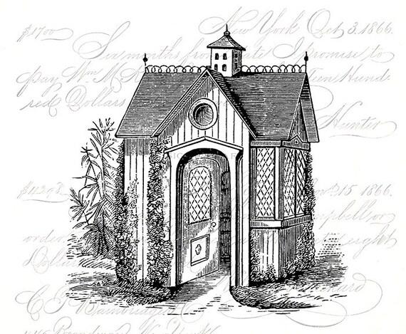 Vintage Illustration Antique Victorian House Architecture