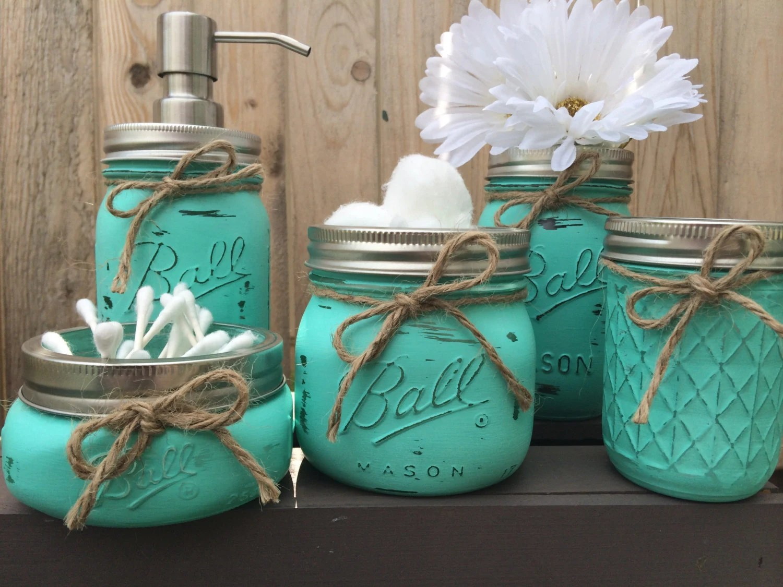 Hand Painted Mason Jar Bathroom Set Mason by