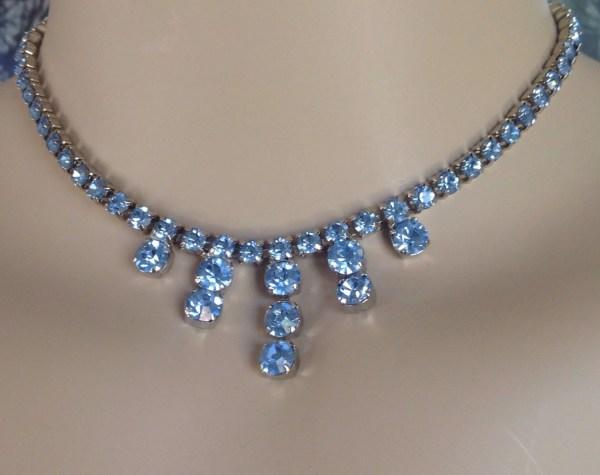 Vintage Blue Rhinestone Necklace-rhinestone Jewelry-bridal