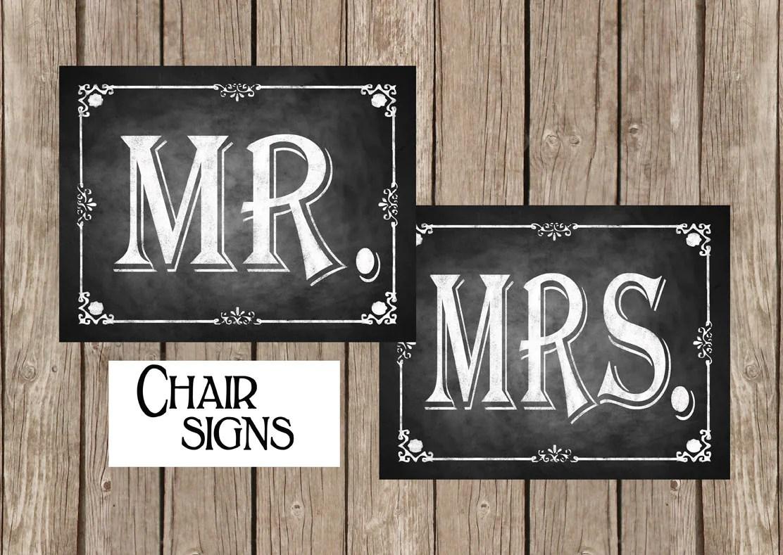 mr and mrs chair signs beauty salon chairs images printable for your wedding great