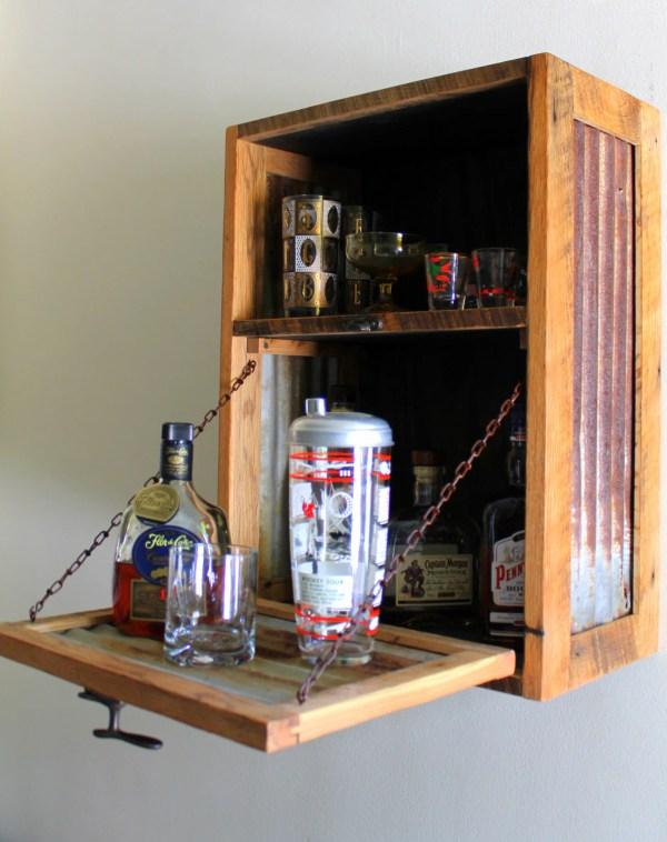 Rustic Hanging Liquor Cabinet Murphy Bar Wall Wine